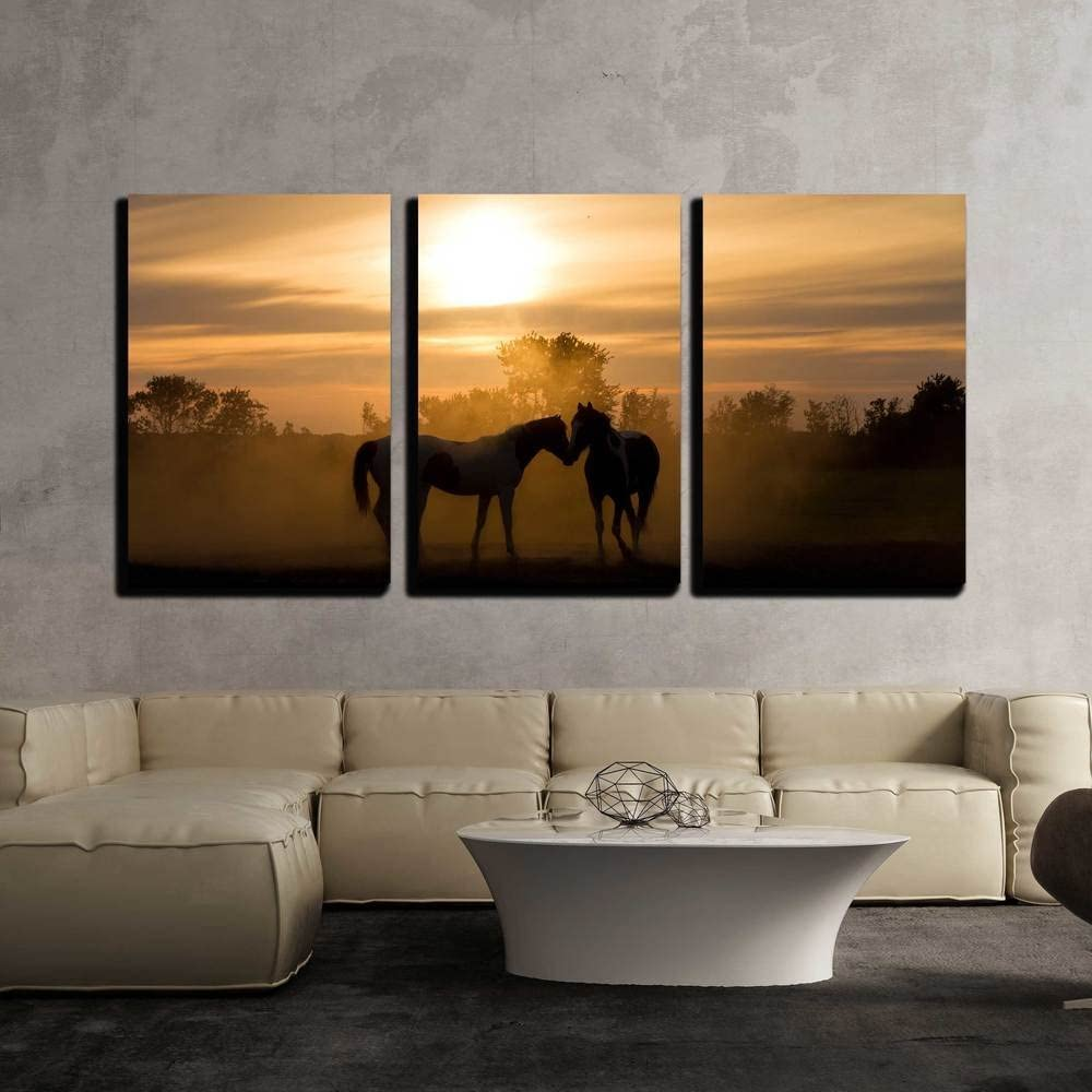 wall26 - 3 Piece Canvas Wall Art - Silhoutte Horses in Love in The Netherlands at Sunset - Modern Home Art Stretched and Framed Ready to Hang - 16
