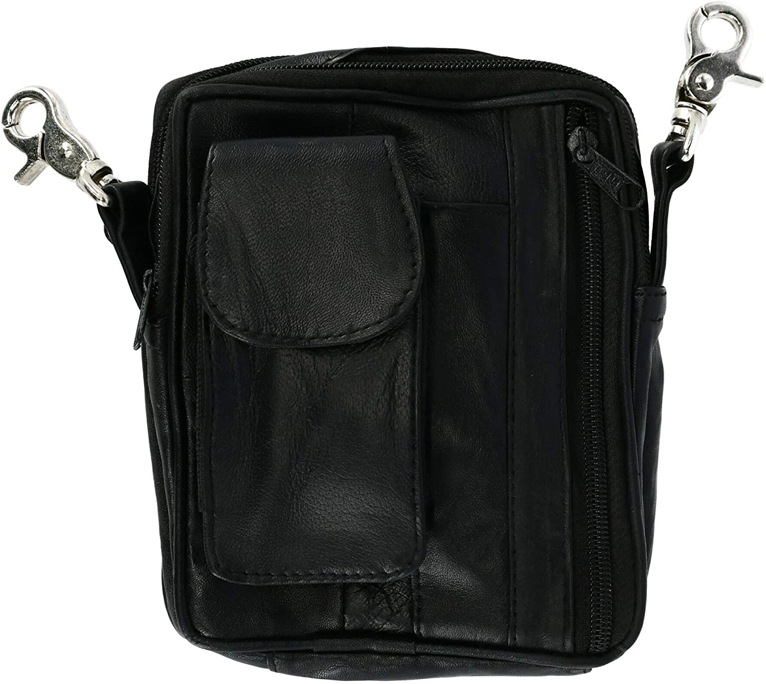 CTM Leather Multi Pocket Biker Bag with Detachable Strap, Black
