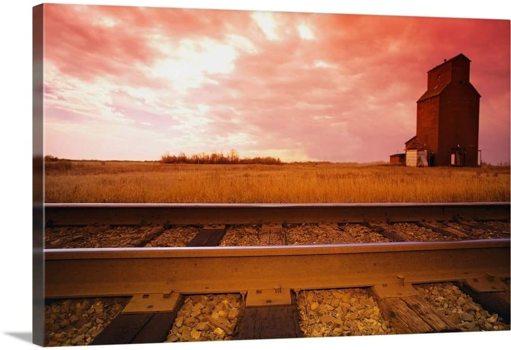 Railroad Track and Grain Elevator Canvas Wall Art Print, 36