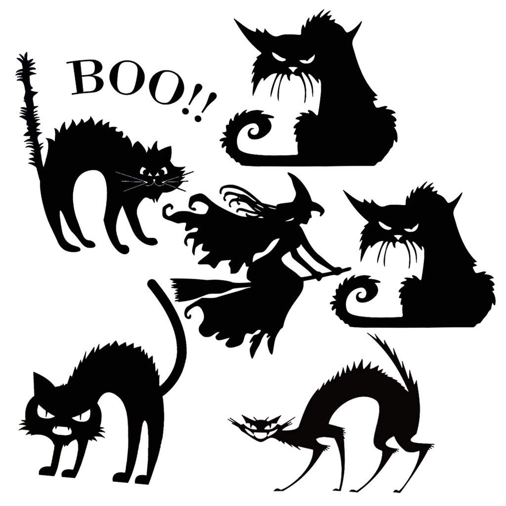 Wall Stickers,Decor Black Cat Wall Sticker Home DIY Decals for Door and Window Suitable for Bedroom,Living Room