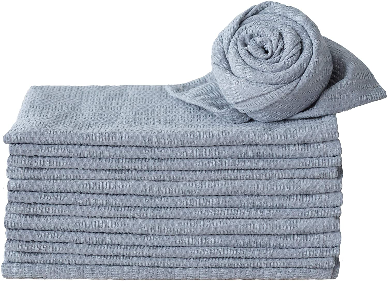 CaliTime Cloth Napkins 17 X 17 Inches Half Dozen 100% Cotton Irregular Lines Stripes Soft Square Reusable Dinner Napkins for Home Restaurant Hotel Wedding Light Gray