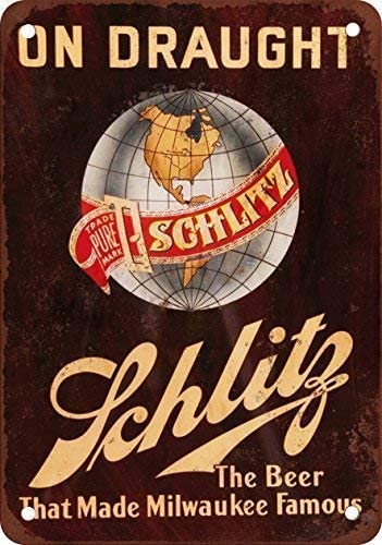 Tin Sign Schlitz Beer on Draught Wall Decor Sign 8x12 Inches Metal Tin Sign Decor Iron Painting