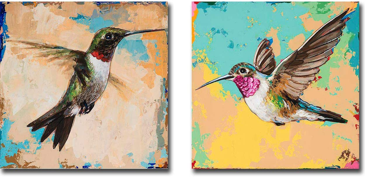 Hummingbird 3 & 4 by David Palmer 2-pc Premium Gallery-Wrapped Canvas Giclee Art Set (12 in x 12 in Each Canvas in Set, Ready-to-Hang)