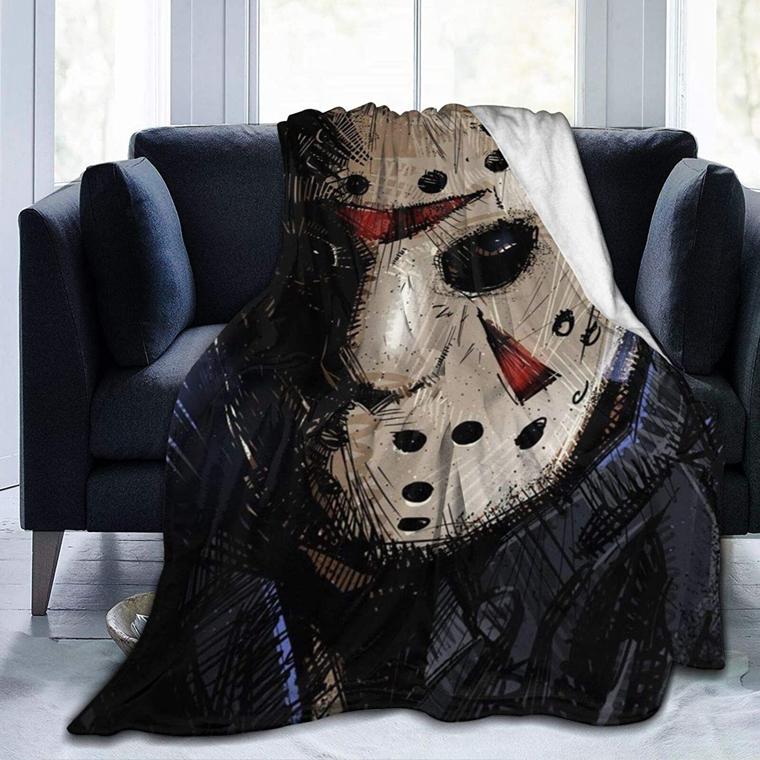 Tuxhhzdda Jason-Voorhees Blankets Used for Beds Sofas, Warm and Comfortable Microfiber Flannel Lightweight Blankets (Men, Women)