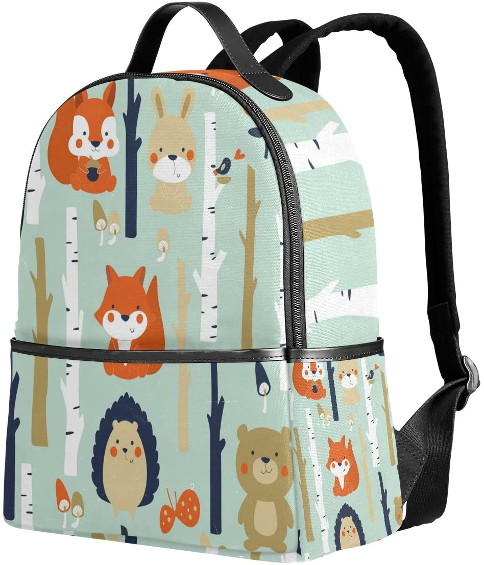 Use4 Cartoon Forest Squirrel Bear Rabbit Polyester Backpack School Travel Bag