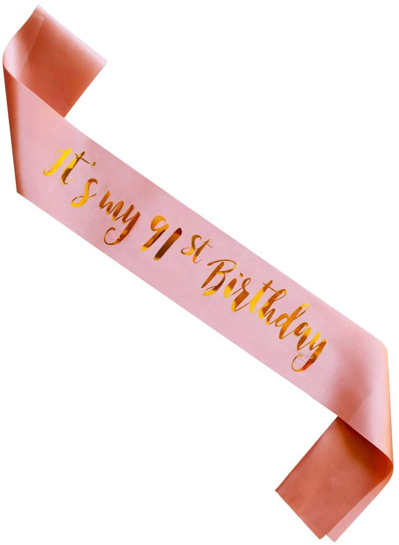 MAGJUCHE It's My 91st Birthday sash, Rose Gold Ladies 91 Years Birthday Women Party Supplies, Pink Party Decorations