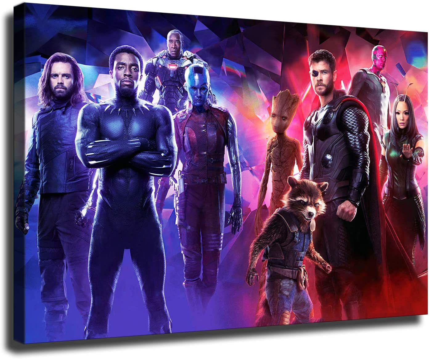 Chadwick Boseman Poster Black Panther with Other Superheroes Wall Decor Art HD Collections Canvas Painting (8x12inch,No Framed)