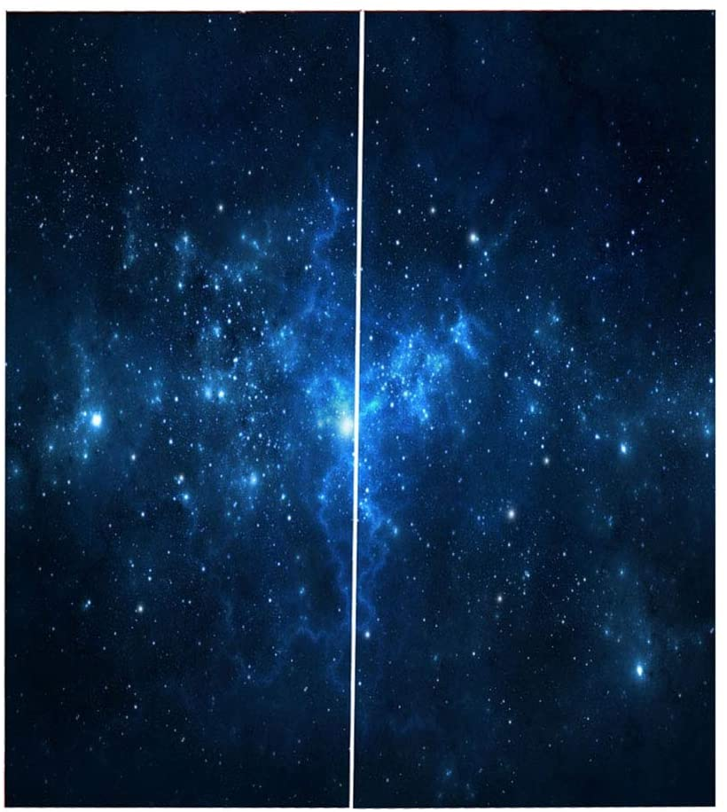 Ichiias Blackout Curtain Blue Starry Sky Full Shade Printing Drape for Living Room Bedroom (150 x 166cm)