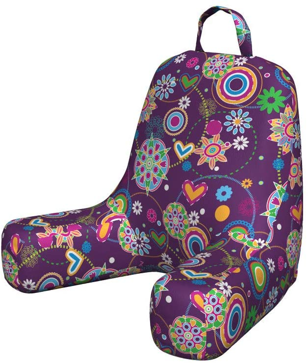 Ambesonne Hippie Foam Reading Pillow, Sixties Style Illustration with Peace and Love Themes Hearts Flowers and Circles, Shredded Visco Bedrest with Washable Cover and Pocket, Small, Multicolor
