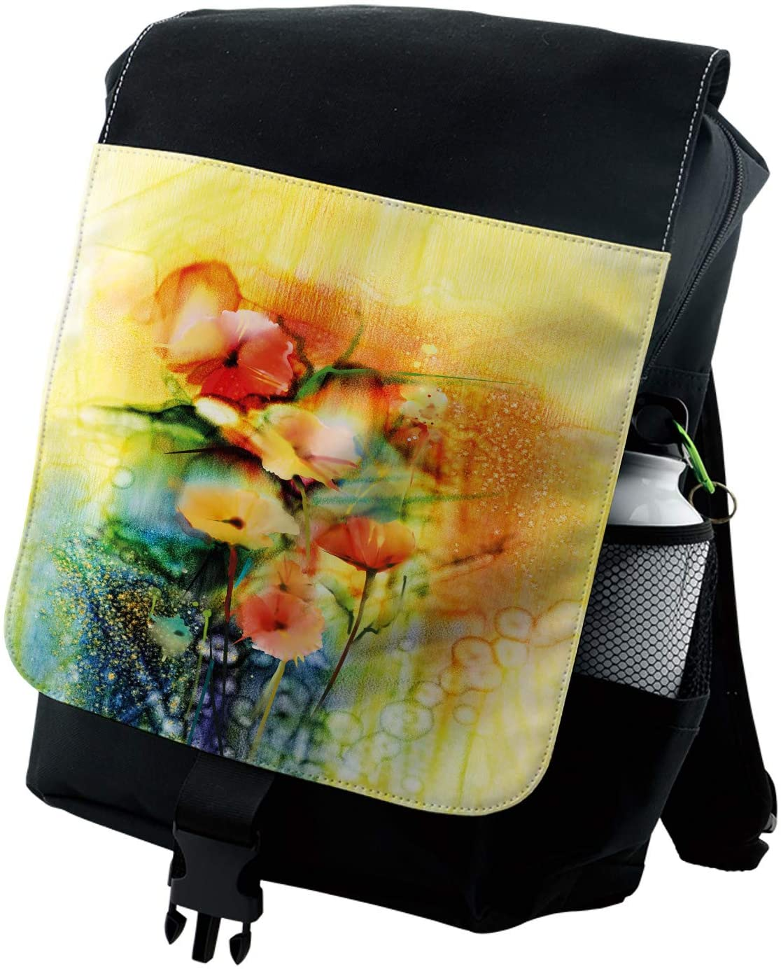 Lunarable Flower Backpack, Gerbera in Vase Retro Design, Durable All-Purpose Bag