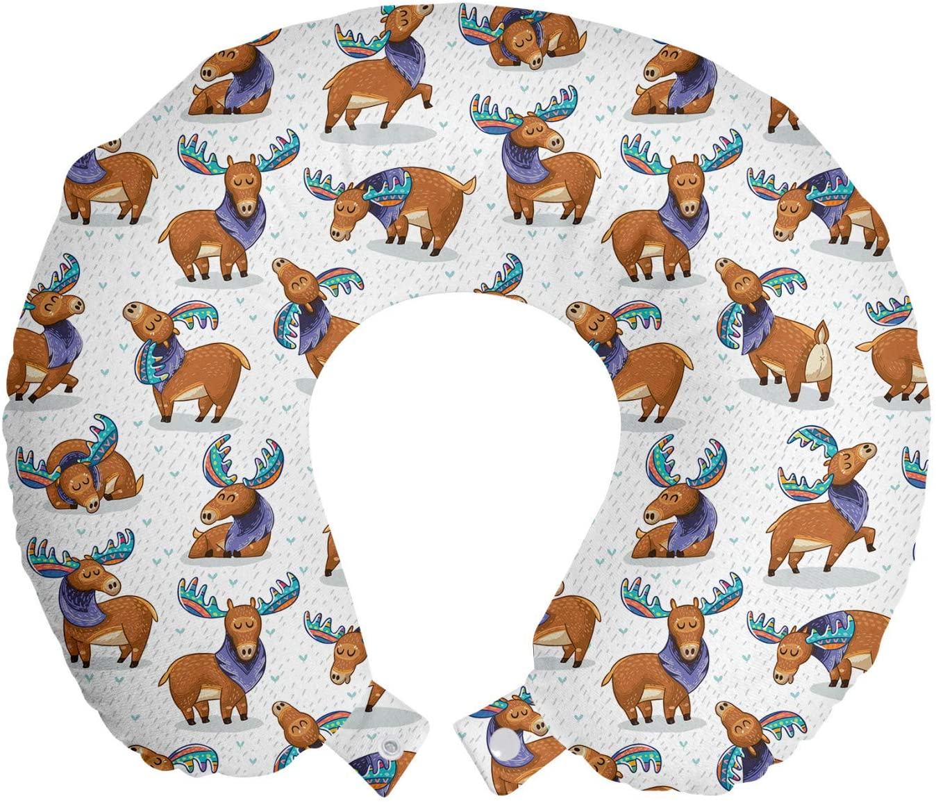 Lunarable Deer Travel Pillow Neck Rest, Moose in Cartoon Elks with Rainbow Antlers Kid Cheerful Comic Pattern, Memory Foam Traveling Accessory for Airplane and Car, 12