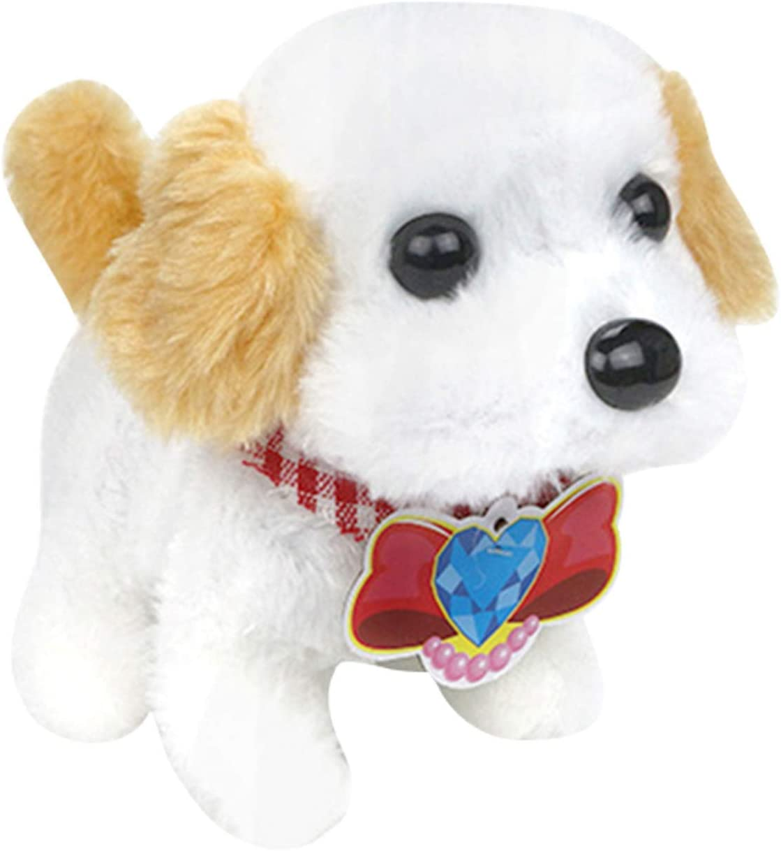 YOKOKO Plush Golden Retriever Electronic Interactive Toy Walking,Barking,Wagging Tail,Stretching Puppy Dog 7 Inches Gifts for Kids (Yellow)