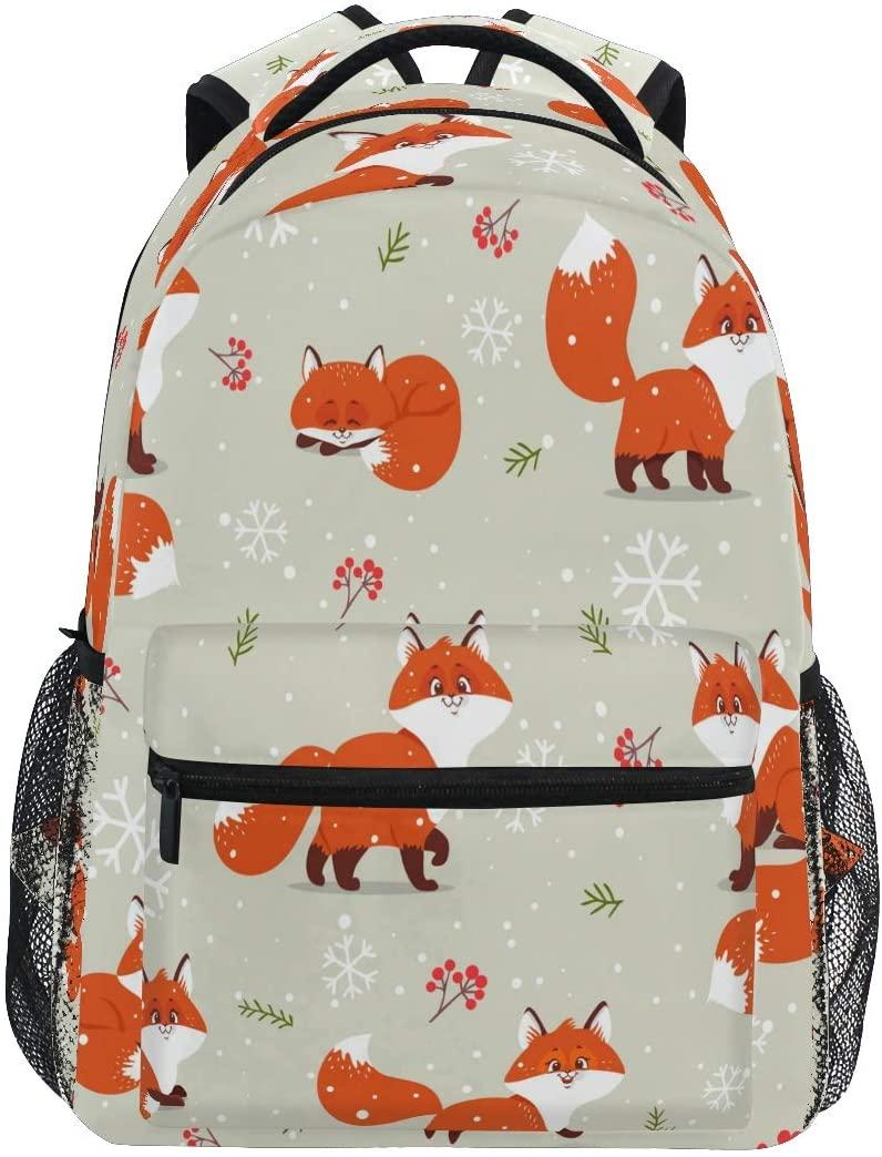 Ombra Backpack Cute Animal Fox Berry Winter Snowflake School Shoulder Bag Large Waterproof Durable Bookbag Laptop Daypack for Students Kids Teens Girls Boys Elementary