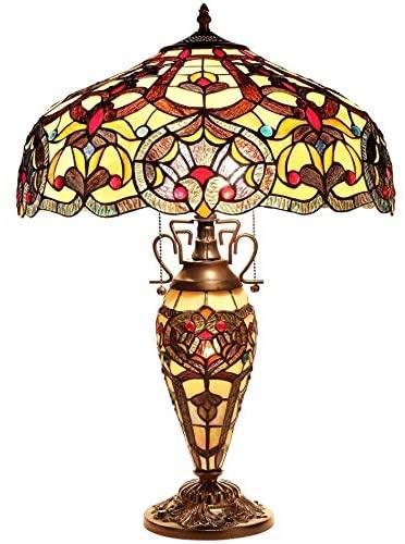Chloe Lighting Tiffany Style Victorian Dark Bronze Double Lit 2+1-light Table Lamp