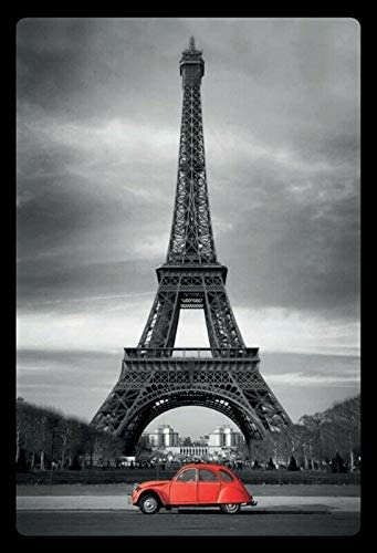 Eiffel Tower Paris Pattern Theme Metal Tin Sign 12x16 Inch Home Kitchen Travel Decor Retro Tin Sign