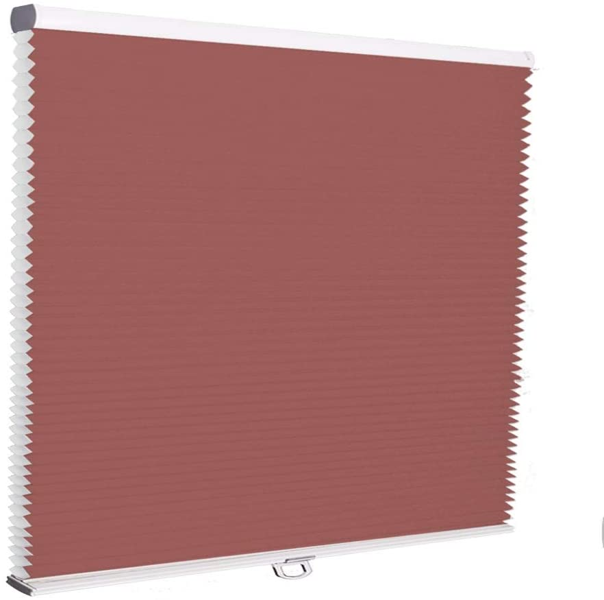 Cordless Honeycomb Window Blinds, No Cord Easy Lift, Light Filtering Bottom Up Brick Red Cellular Shades, UV Protection Pleated Blinds for Windows, French Doors, Sliding Doors, Kitchen