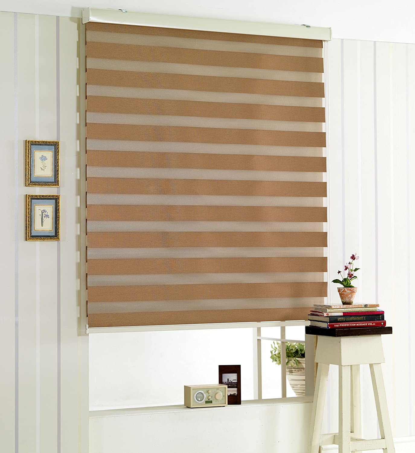 Foiresoft Custom Cut to Size, [Winsharp Blackout Pisa, Brown, W 71 x H 72 inch] Zebra Roller Blinds, Dual Layer Shades, Sheer or Privacy Light Control, Day and Night Window Drapes, 20 to 72 inch Wide