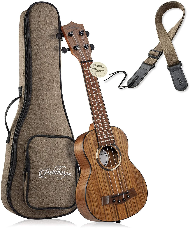 Ashthorpe Soprano Ukulele, Walnut - 21-Inch Professional Uke with Aquila Nylgut Strings, Padded Gig Bag, and Strap