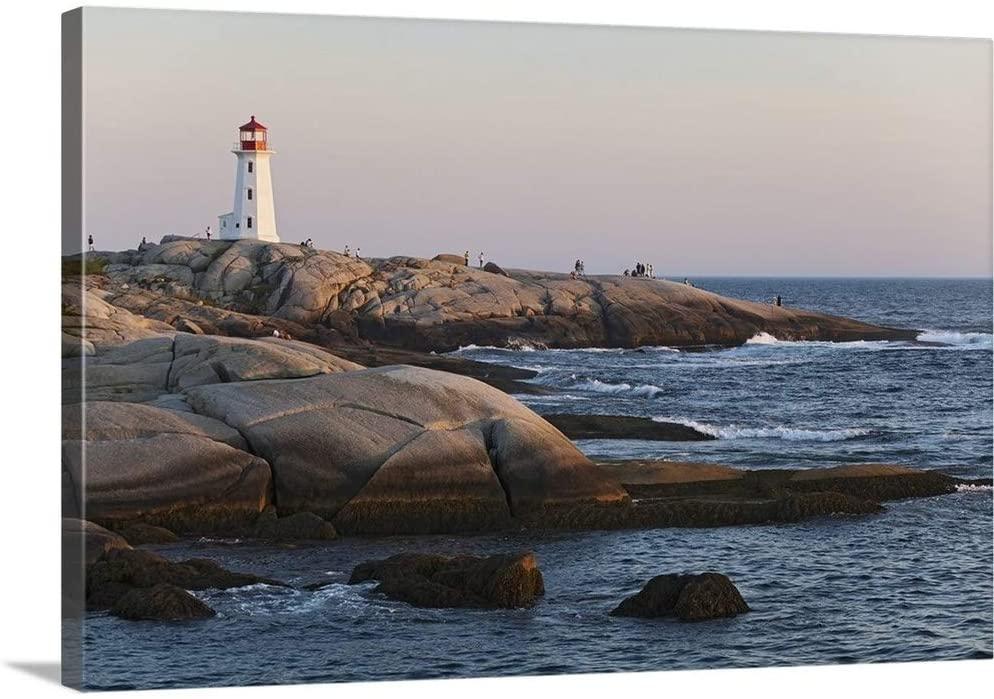 Lighthouse, Peggys Cove, Nova Scotia, Canada Canvas Wall Art Print, 30x20x1.25