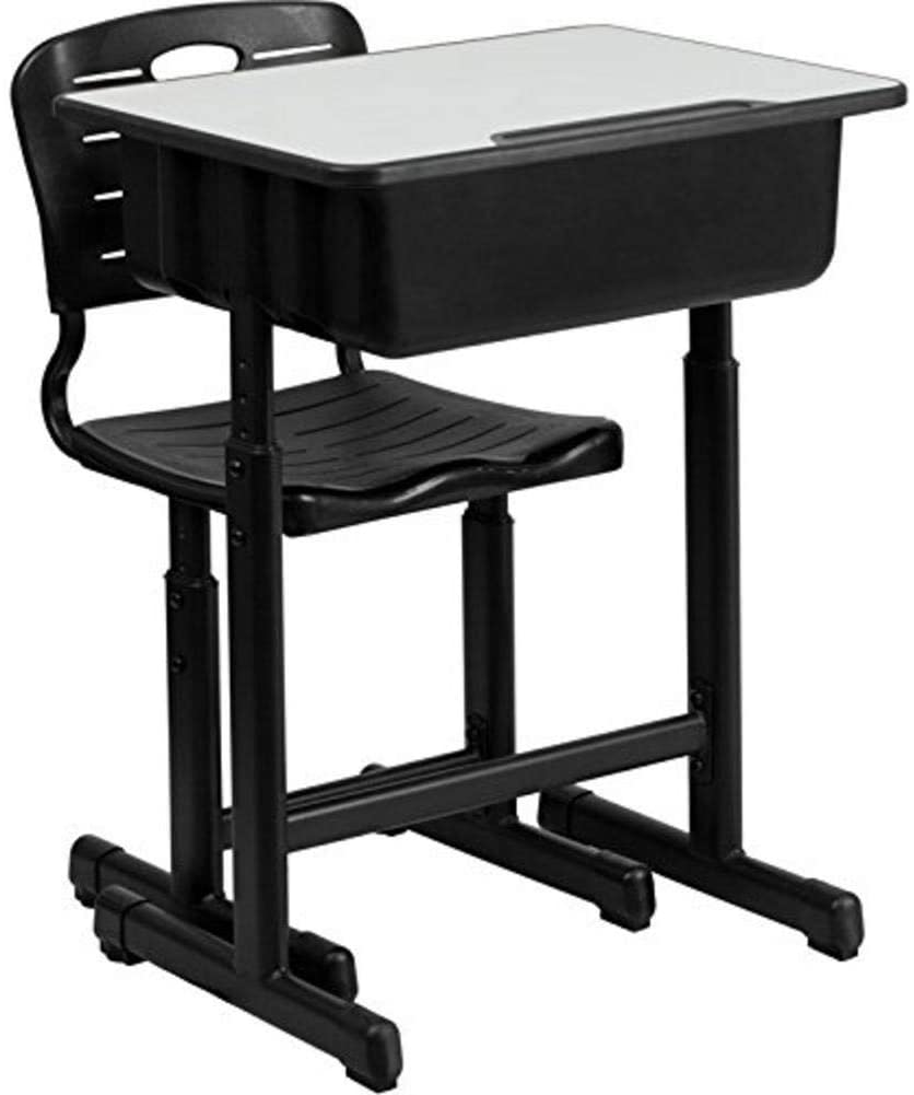 Kids Desk and Chair Set, Adjustable Student Children Desk and Chairs Set with Drawer Hanging Hooks Pencil Groove for Children Kids for Home School, Black
