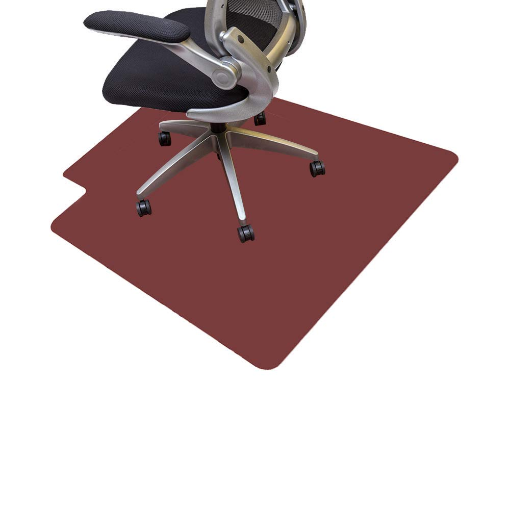 Resilia Office Desk Chair Mat with Lip – PVC Mat for Hard Floor Protection, Burgundy, 45 Inches x 53 Inches, Made in The USA