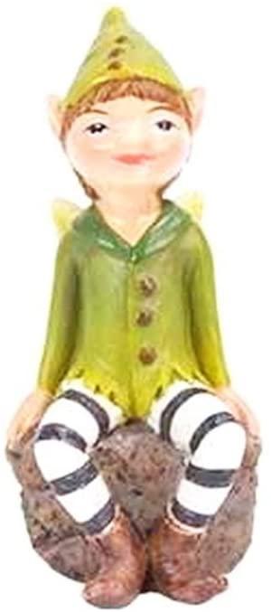 Mini Dollhouse Fairy Garden Accessories - Leaf Fairy on Stone - My Garden Miniatures