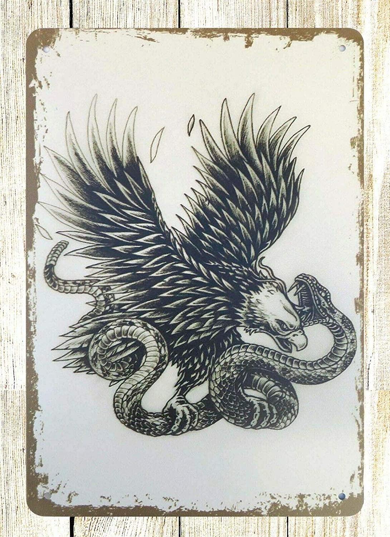 Garden Outdoor Eagle Snake Tin Metal Sign Wall Decor 12 x 8 Inches