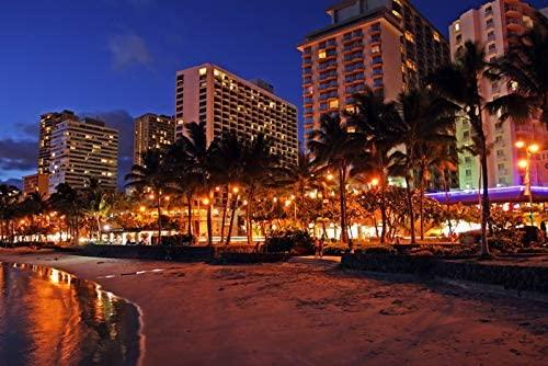 Honolulu, Hawaii - Waikiki Beach and City Lights At Night - Photography A-92382 (9x12 Art Print, Wall Decor Travel Poster)