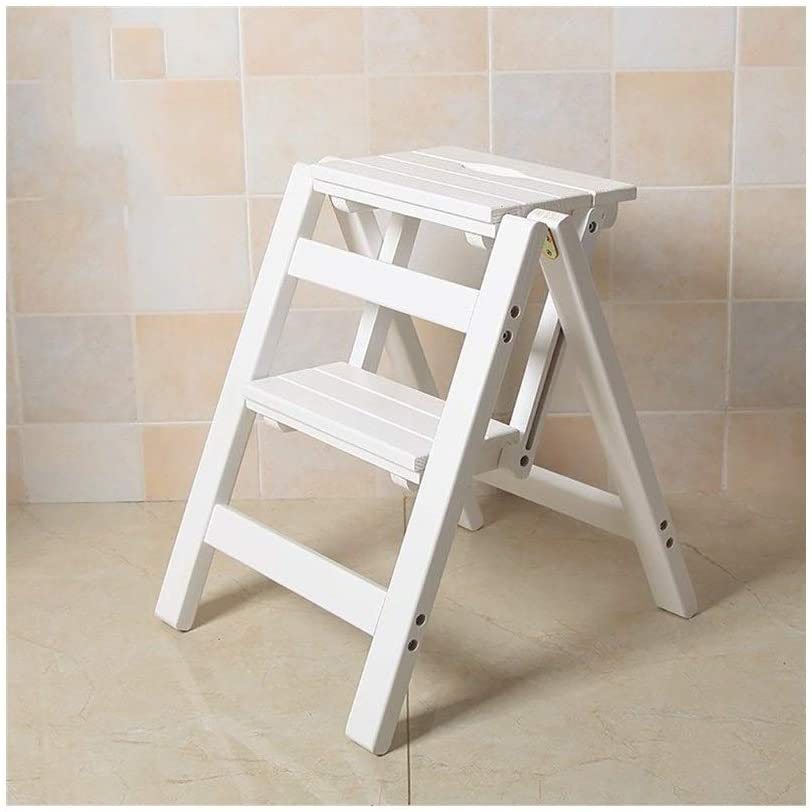Fashion Simple Solid Wood Footstool/Collapsible Step Stool/Changing Shoes Stool Creative Ladder HENGXIAO (Color : A- White)