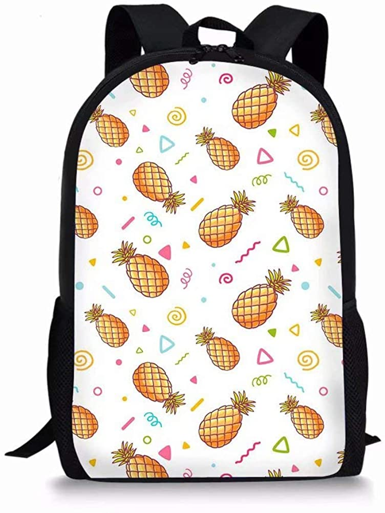Dellukee Cute Kids School Backpack Pineapple Polka Dot Large Durable Elementary Daypack