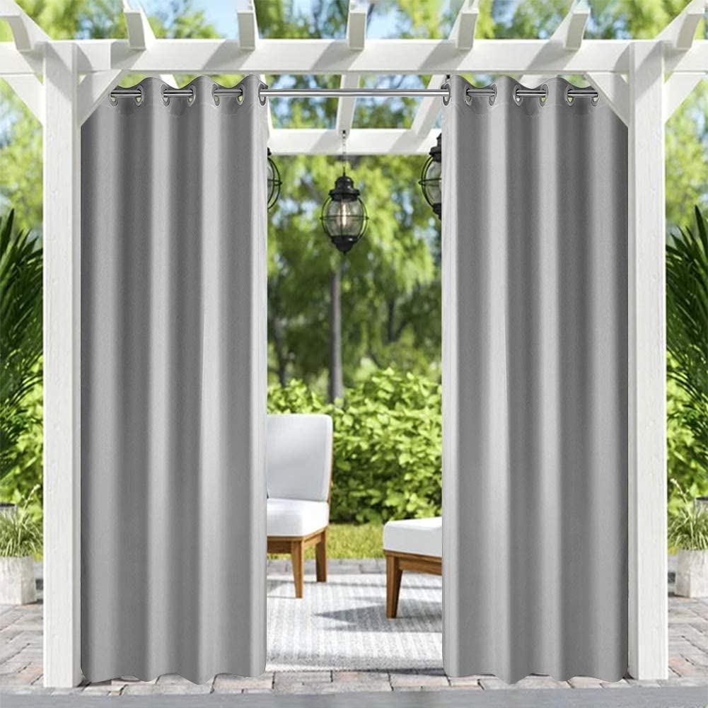 Pro Space Patio Outdoor CurtainUV Privacy DrapeThick Waterproof FabricHeavy Duty Indoor Panelfor Porch Balcony Pergola Lanai Canopy Tent Gazebo Window, 50 Inch Wide by 120 Inch Long, Grey