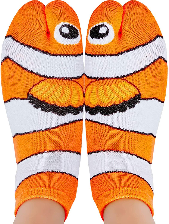 3 Pairs Clownfish Animal Socks Colorful Funny Casual Cotton Novelty Crew Socks Unisex Socks for Teenagers Men Women