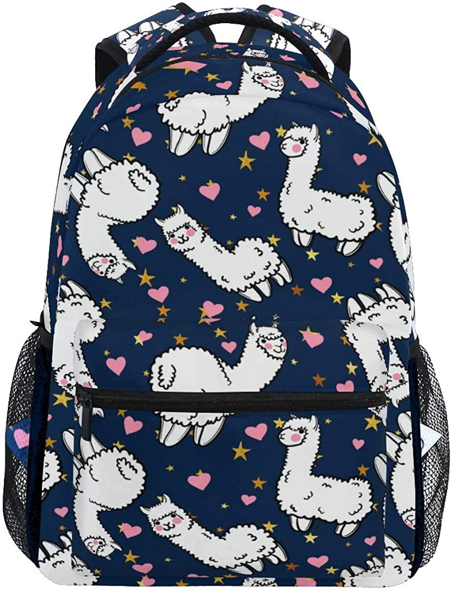 Llama Sheep Heart Star Blue Backpack School Bookbag Rucksack Shoulder Book Bag for Boys Girls Women Travel Daypacks