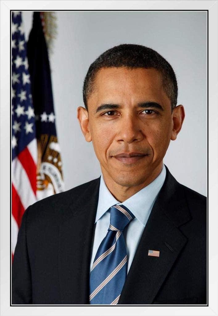 Barack Obama Official Presidential Photo Portrait White Wood Framed Poster 14x20