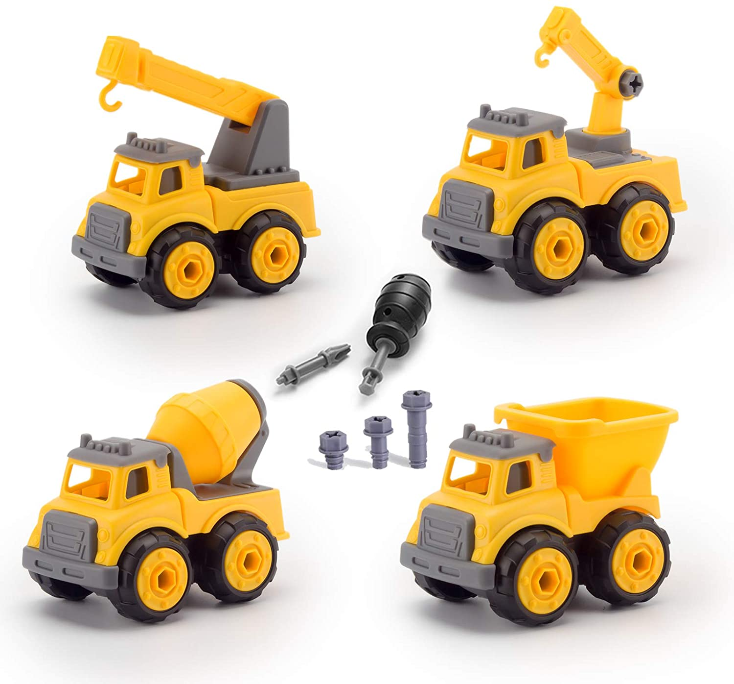 Construction Toys,Take Apart Toy Racing Car,Toy Trucks STEM Toys for 3 4 5 Year Old Boys Kids,Dump Trucks Toy with Toy Drill,Crane Toy Trucks for Boys Age 4,Construction Trucks Vehicles Birthday Gift