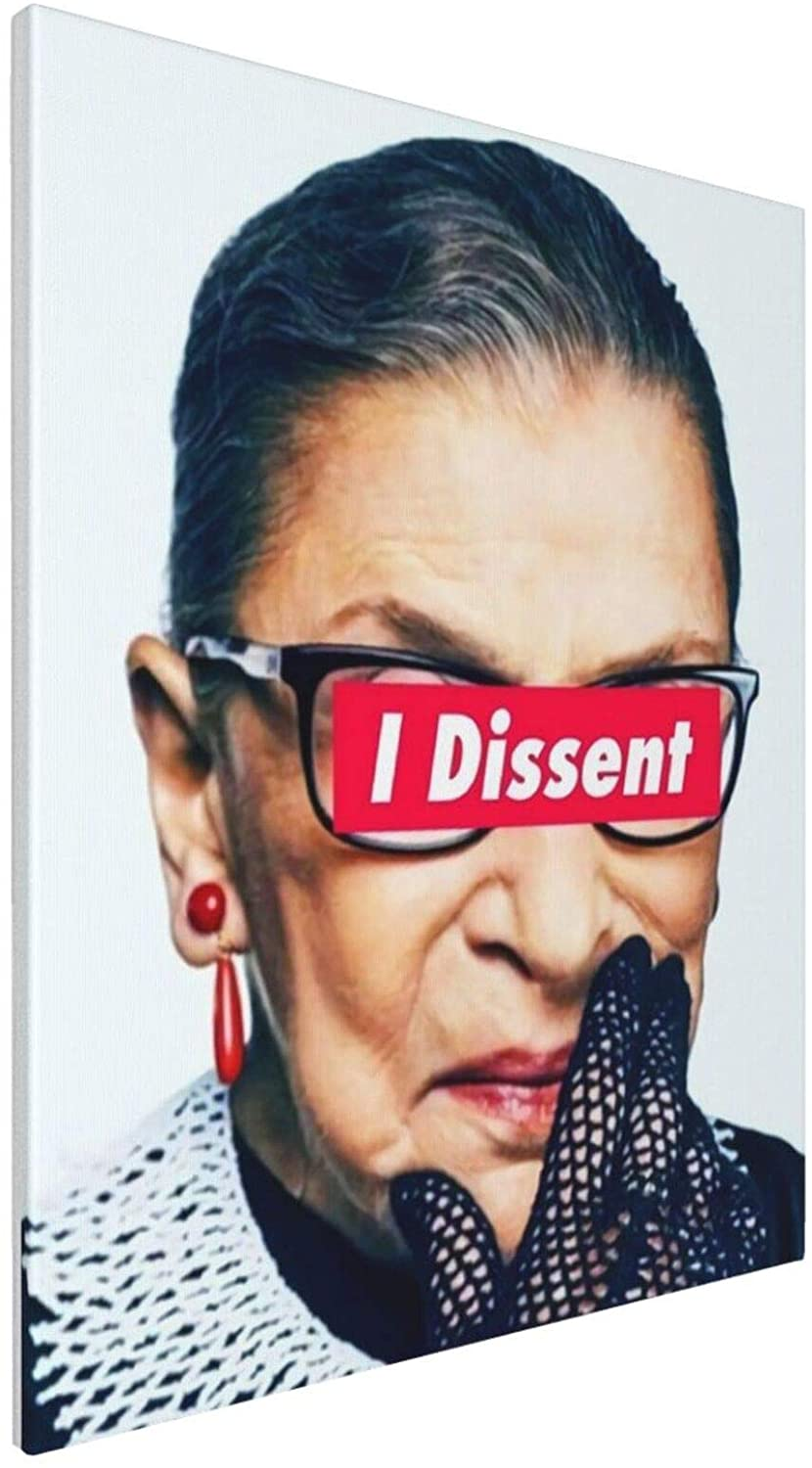 RBG Ruth Bader Ginsburg - I Dissent - Notorious Tasteless 3d Oil Painting Large Canvas Wall Art Decor For Dining Room 16x20 Inch