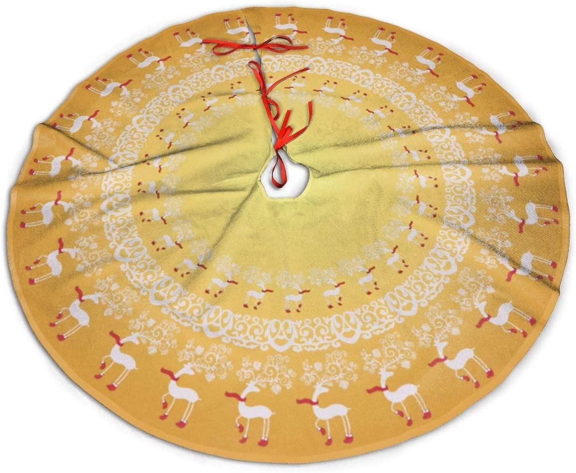 MSGUIDE Gold Whimsical Christmas Prancing Deer and Lace Christmas Tree Skirt 48