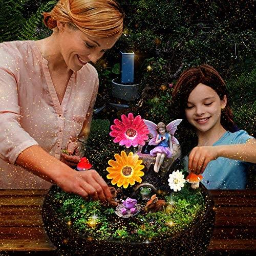 HDNICEZM Fairy Garden Accessories Kit - Miniature Solar Flower Stump and Figurine Hand Painted Set for Fairy, Animal, Mushroom,Teacup set,Table Chair Set -with Magical Glow in The Dark Solar LED Light