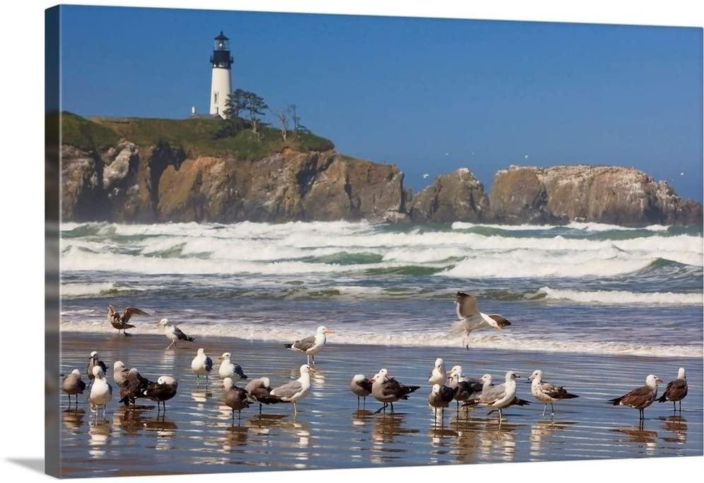 Seagulls On The Beach and Yaquina Head Lighthouse On The Oregon Coast; Oregon Canvas Wall Art Pri.