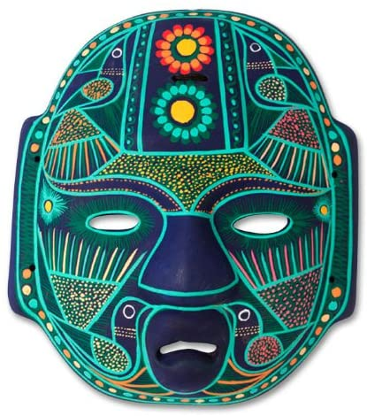 NOVICA Green and Blue Hand Painted Ceramic Wall Mask, Jade Olmec Lord'