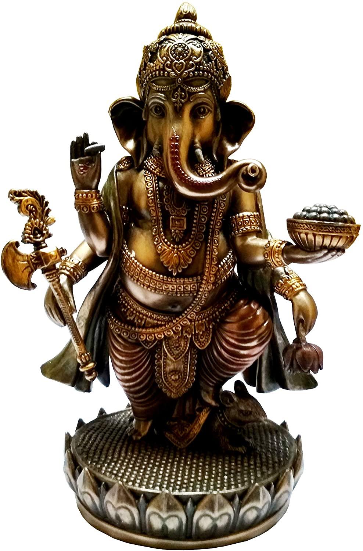 Purpledip Resin Idol Ekakshara Ganesha with Modak, Noose, Hatchet & Tusk: Home Temple Decor Gift (11652)