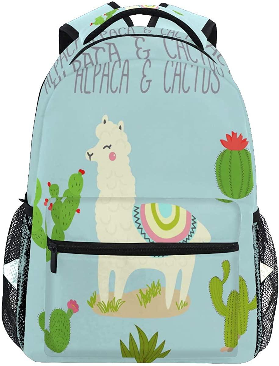 Alpaca Llama Tropical Cactus Backpack School Bookbag Rucksack Shoulder Book Bag for Boys Girls Women Travel Daypacks