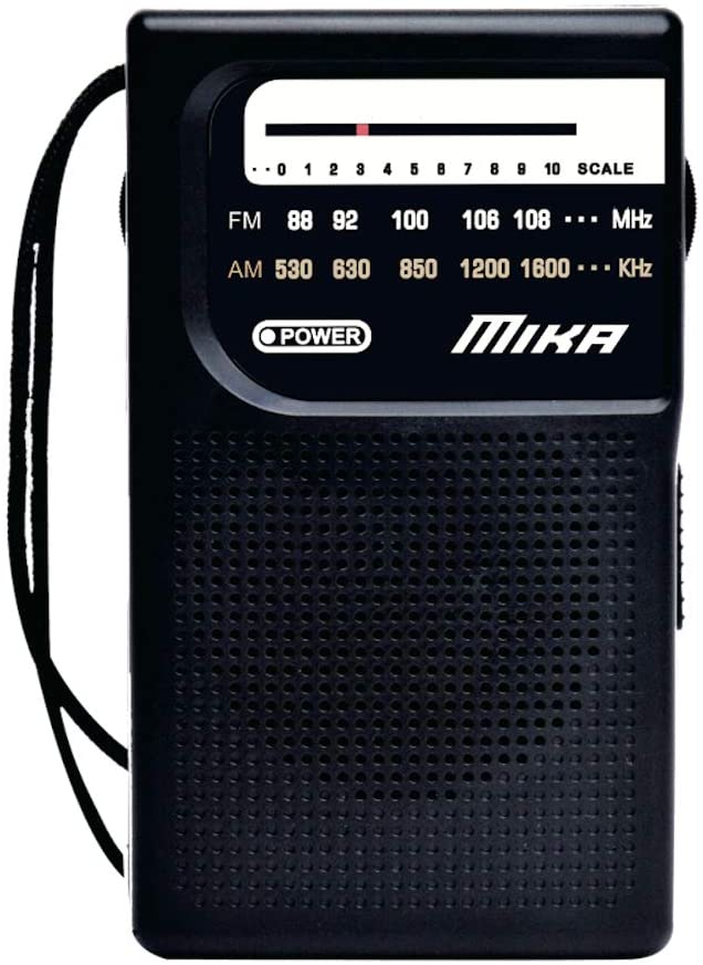AM FM Radio with Speaker and Earphone Jack, Small Transistor Radio, Battery Operated, Best Mini Radio Antenna Reception for Emergency by MIKA (Black)
