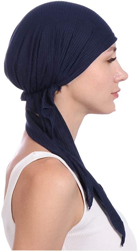Chemo Cancer Head Scarf Hat Cap Pre-Tied Hair Cover Wrap Turban Headwear
