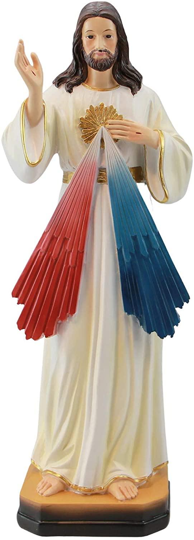 Woodington's Divine Mercy Jesus Christ 12 Inch Resin Colored Statue