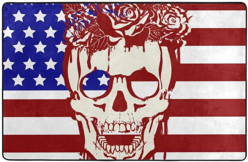 QSMX Ultra Soft Carpets Indoor Modern Area Rugs Fluffy Living Room for Boys Girls Kids College Dorm Home Decor Floor Us Flag with A Skull and Roses