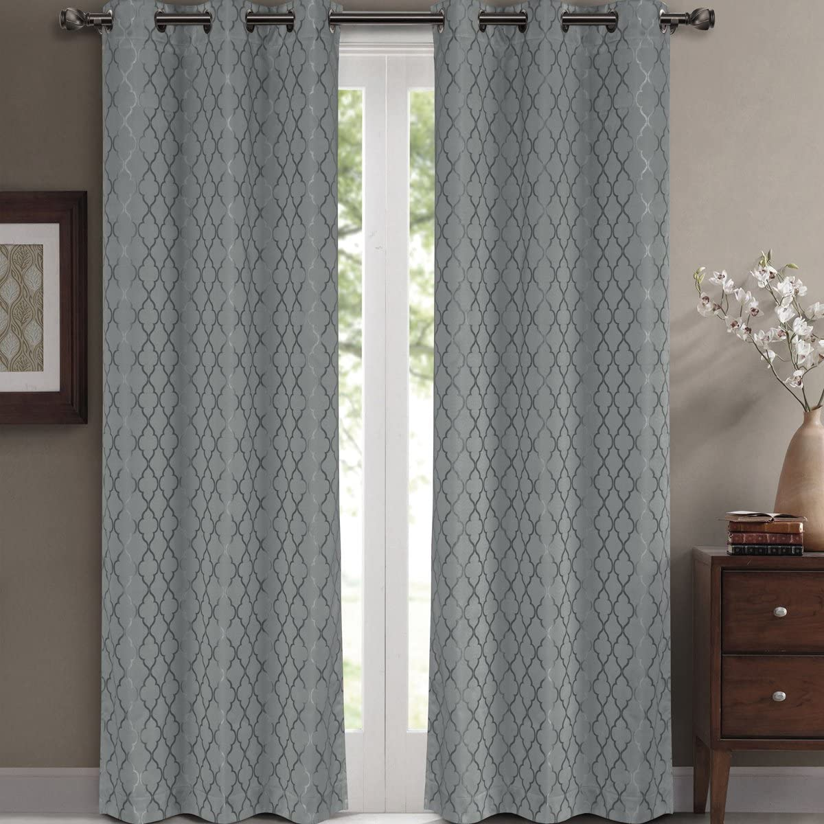 Willow Jacquard Gray Grommet Blackout Window Curtain Drapes, Pair/Set of 2 Panels, 42x108 inches Each, by Royal Hotel