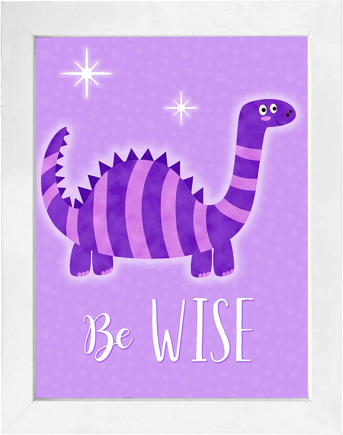 Dinosaur Framed Wall Art | Perfect for Kids Rooms, Nursery, Home Decor (1pc - Be Wise - White Frame, 8x10)