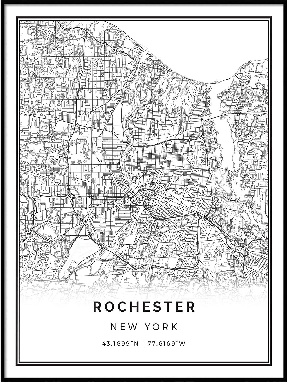 Squareious Rochester map Poster Print   Modern Black and White Wall Art   Scandinavian Home Decor   New York City Prints Artwork   Fine Art Posters 9x11