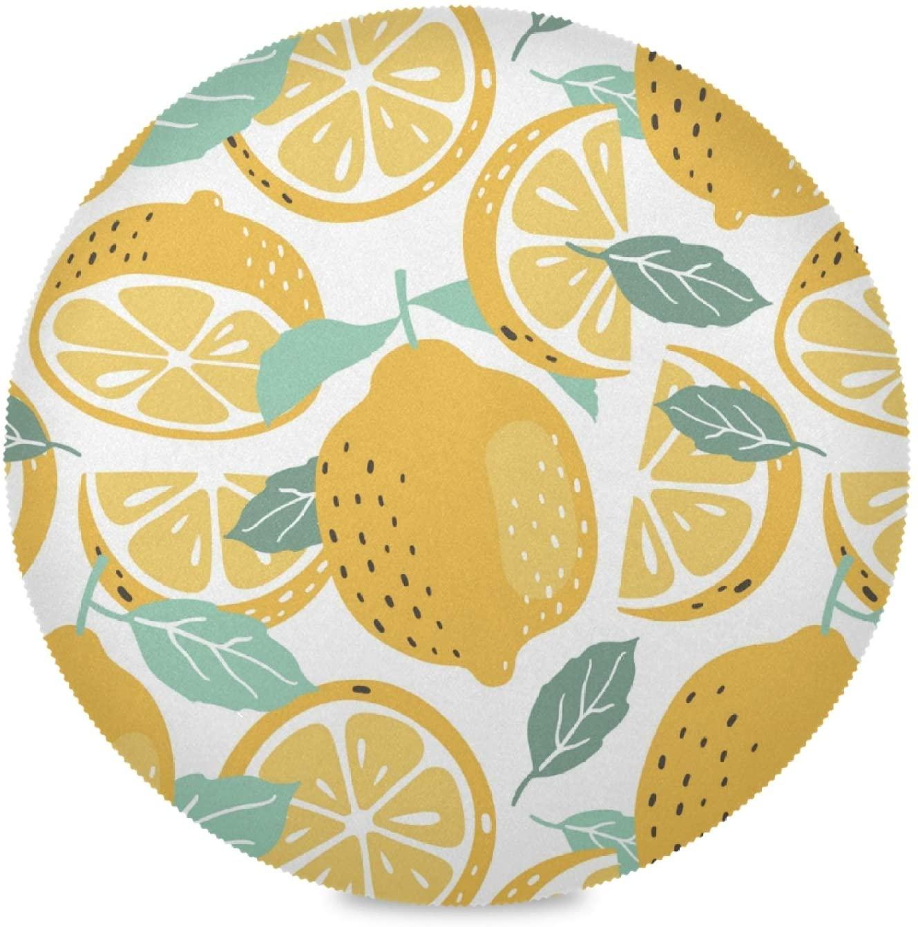 Caihoyu Lemon Yellow Round Place Mats (15.4